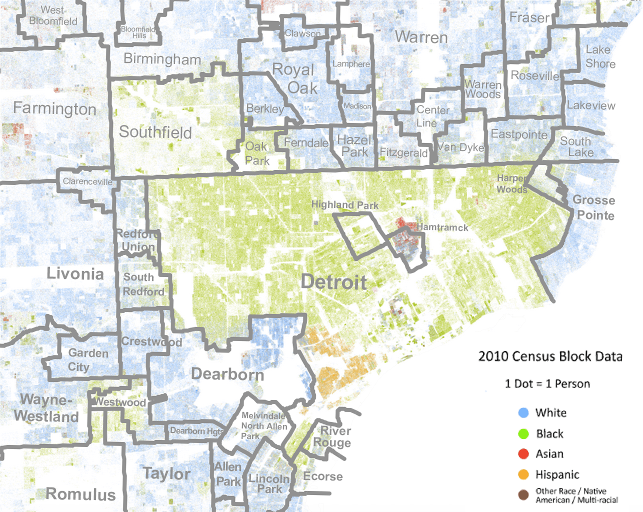 Race dot map of Detroit, with school districts