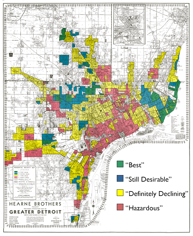 Detroit redlining map, 1939