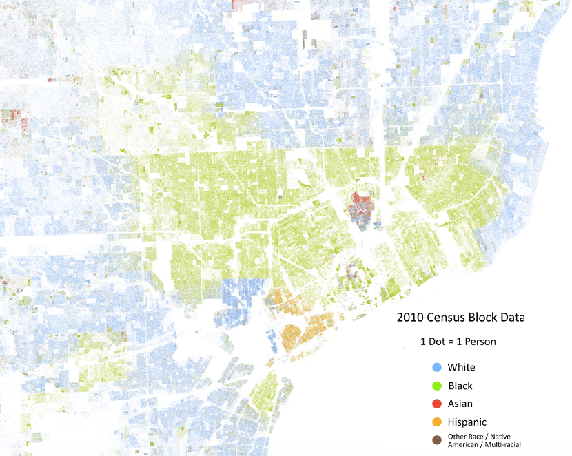 Map of metro Detroit by race, 2010 census